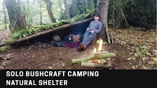 Solo Bushcraft camping | Natural shelter | Camp fire cooking | survival shelter