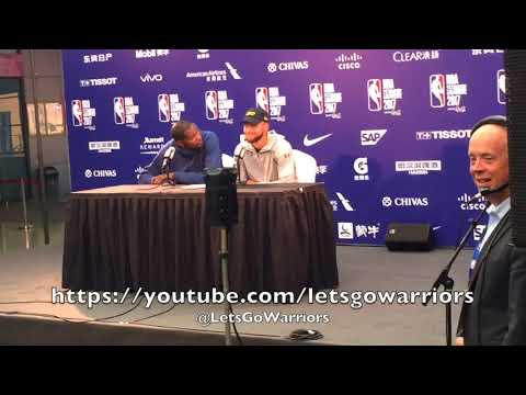 "STEPHEN CURRY & DURANT, Warriors in Shenzhen, postgame: ""What's the Chinese word for hacking?"""