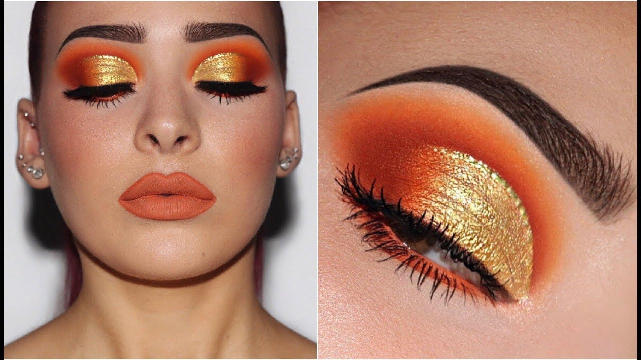 Orange Yellow Gold Makeup Tutorial Youtube