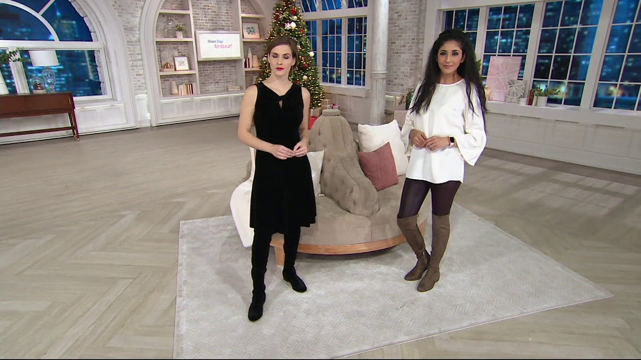 b764d5edd18 Marc Fisher Faux Suede or Velvet Over-the-Knee Boots - Hulie on QVC ...