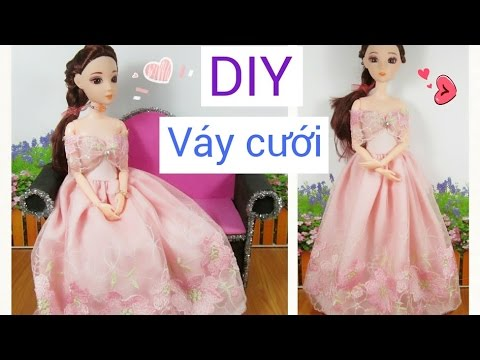 DIY How to Make a Doll Wedding Dress / May đồ cho búp bê: may váy cưới đơn giản / Ami DIY