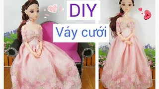 DIY How to Make a Doll Wedding Dress / May đồ cho búp bê: may váy cưới đơn giản / Ami DIY