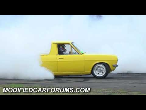 Datsun 1200 ute powered by an LS1 burnout at Supernats 2009