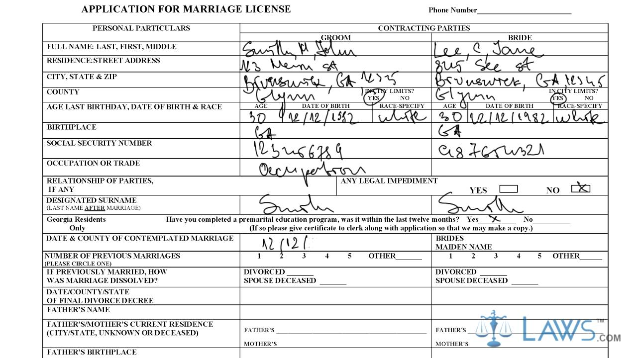 Instruction to fill glynn county application for marriage license ...