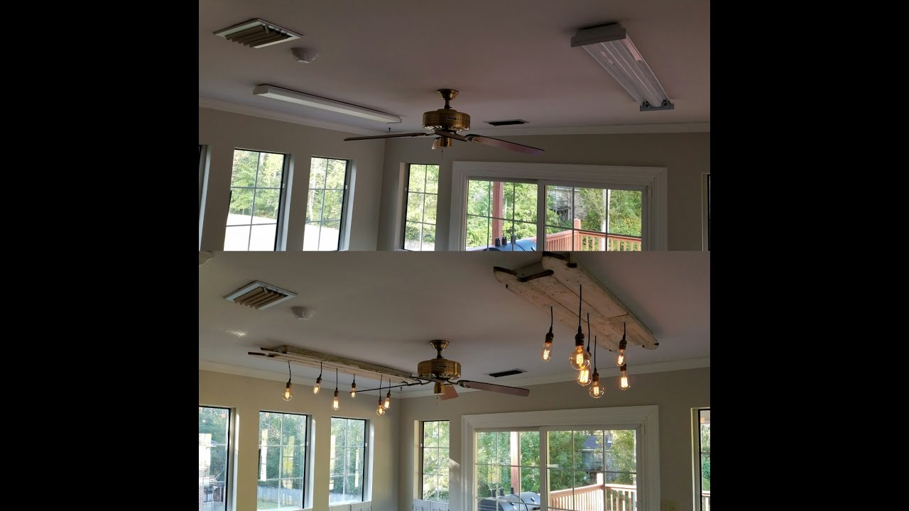 changing fluorescent light fixtures to edison chandeliers