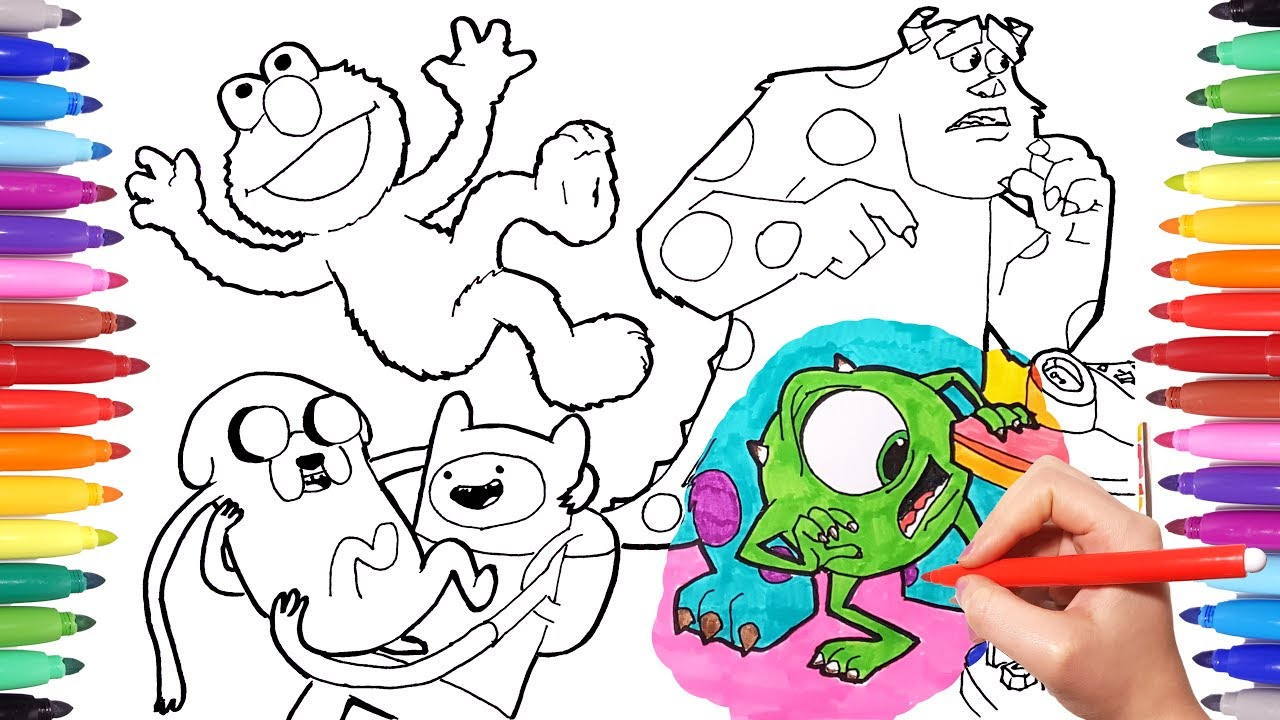 cartoon characters coloring book page 1 monster u0026 co adventure