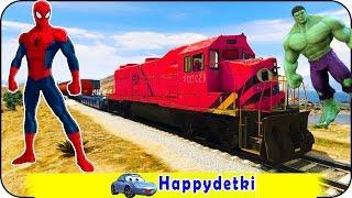 Человек паук катается на большем поезде, мультики для детей, цветные машинки