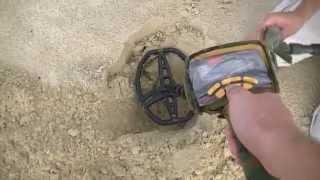 поиск с металлодетектором на пляже