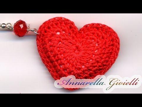 Tutorial - Orecchini Cuore 3D all'uncinetto. ( 3D heart crochet)
