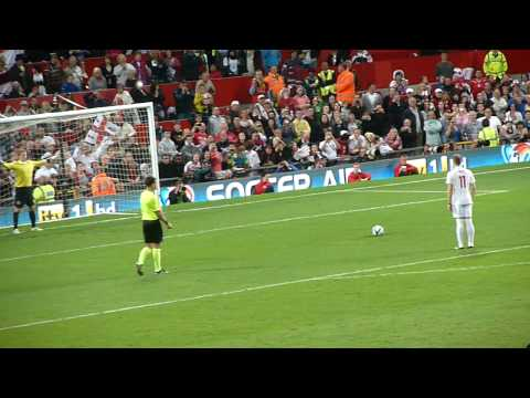 Olly Murs scores a penalty for England at Soccer Aid 2010