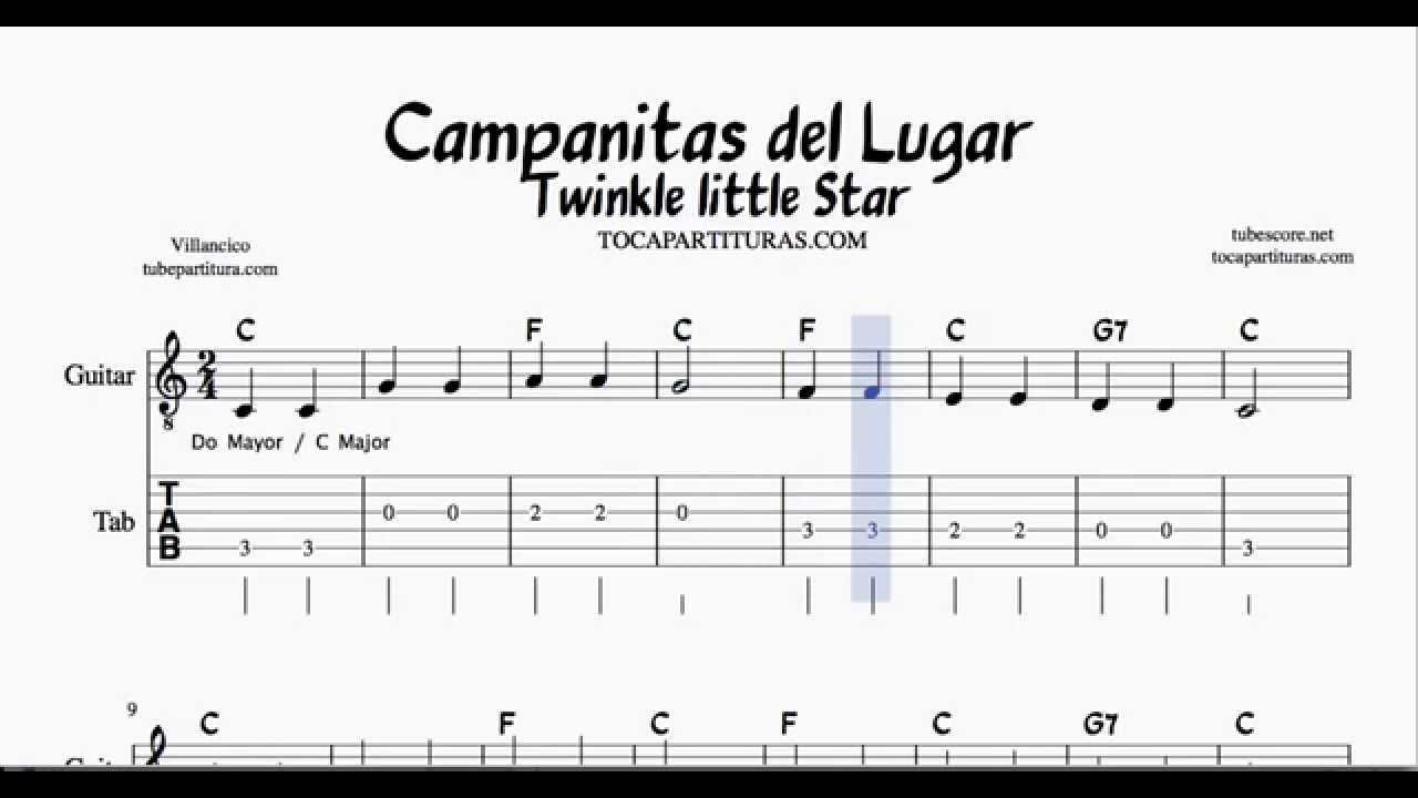 Twinkle Twinkle Litlle Star C Major Tabs Sheet Music For Guitar