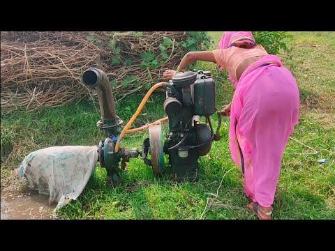 Diesel Engine Water Pump Start Woman For Village | गाँव की औरत का ऐसा टैलैंट कभी नहीं देखा होगा