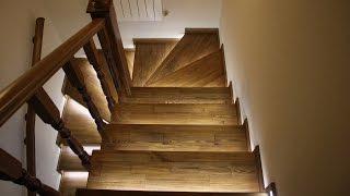 Подсветка лестниц - Деревянные лестницы hozainbarin.ru(Автоматическая подсветка деревянных лестниц. Купить и заказать лестницу можно тут http://hozainbarin.ru/lestnitsy., 2015-09-22T10:39:16.000Z)