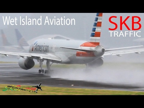 Wet Busy Afternoon !!! AA 737, AA 757, DA 737, UA 737, LIA ATR72....@ St. Kitts Airport Part 1