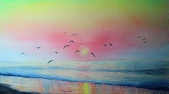 watercolor illustration - Speed-Painting-Concept-Art: Sonnenuntergang am Meer