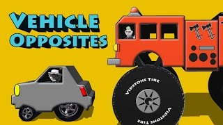 Vehicle Opposites - Big Truck Small Car Long Limo Short Hybrid Up Down Tow Truck