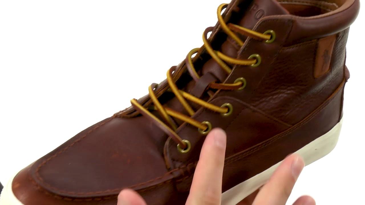 polo ralph lauren men's tavis leather high top sneakers