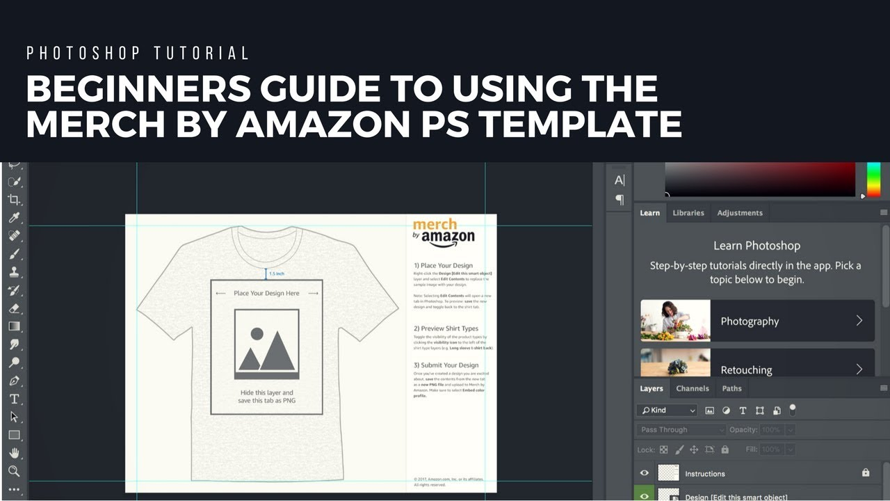 beginners guide to using the merch by amazon photoshop template on a