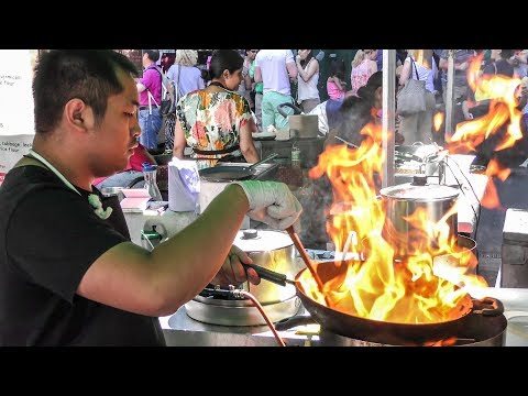 Cooking Asian Style Noodles. London. Street Food of Borough Market