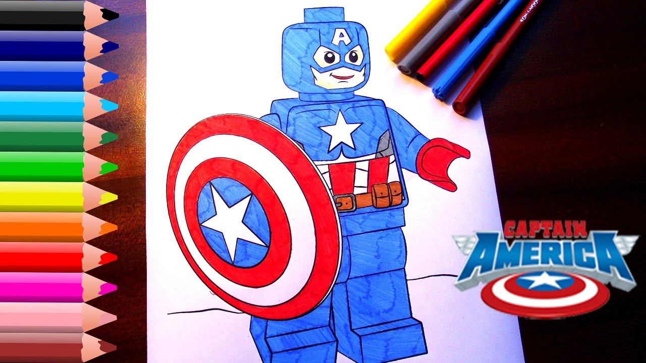 Captain America Coloring Pages for kids // LEGO Captain America ...