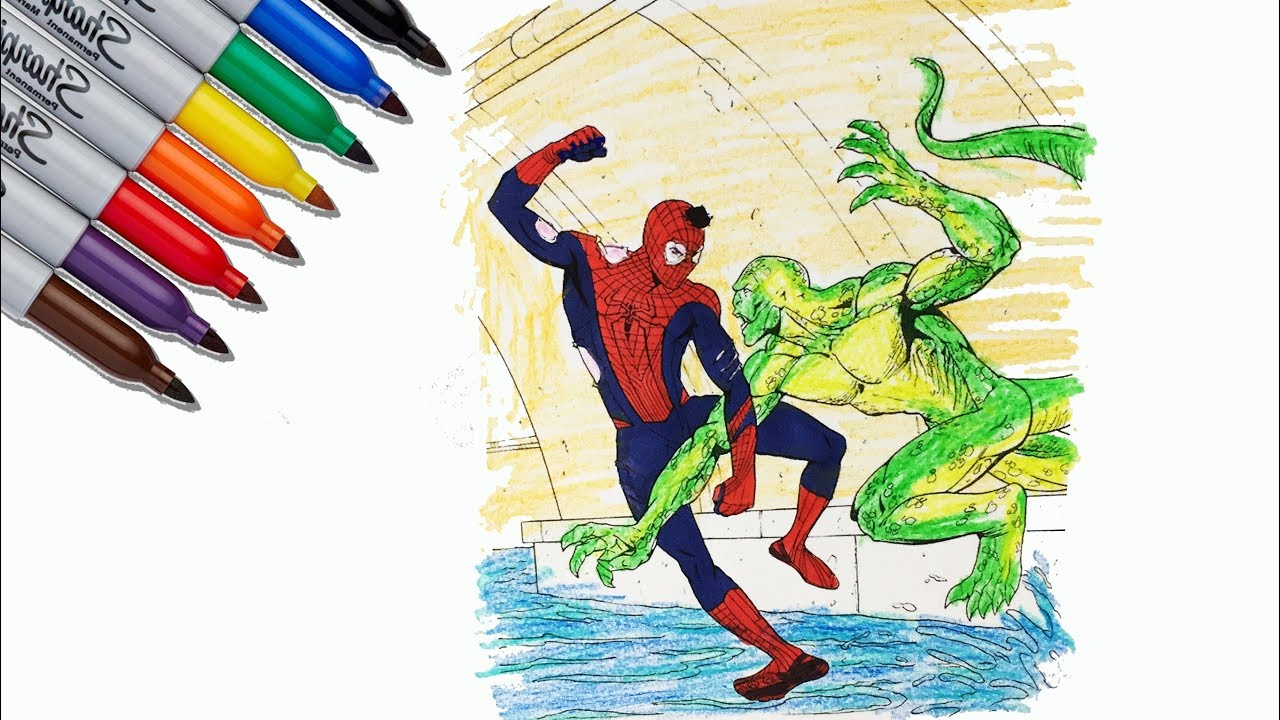 The Amazing Spider Man Vs The Lizard Coloring Pages Sailany Coloring Kids Youtube