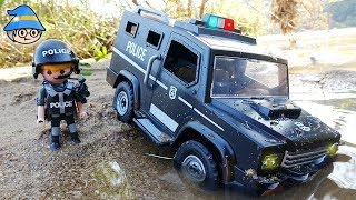 The police officer is riding the police car. Story of a police officer who met a crocodile.