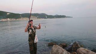 Ловлю рыбу на голый крючок рыбалка на Черном море с берега