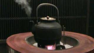 Steam from iron kettle