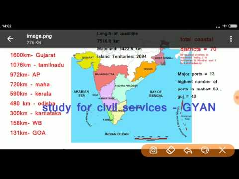 भारत के तटीय राज्य  | COASTAL STATES  & UNION TERRITORIES OF INDIA-static general knowledge