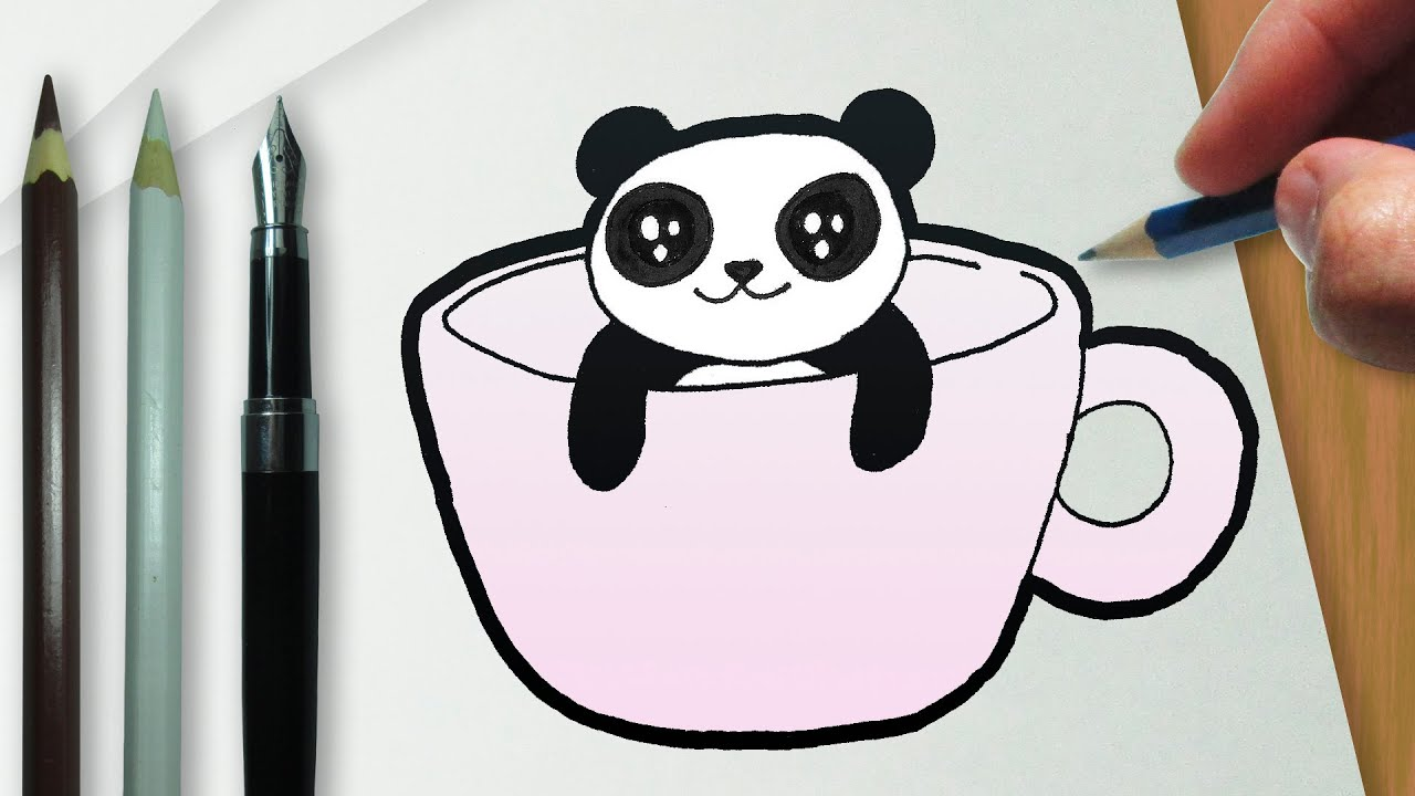 Desenhos Tumblr De Mão Estalando Como Fazer: Como Desenhar Uma Xícara Com Um Panda Kawaii