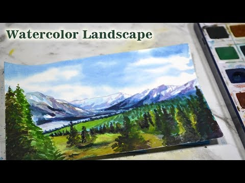 Mountain Painting Series:  Watercolor Landscape Painting   Kalaayug