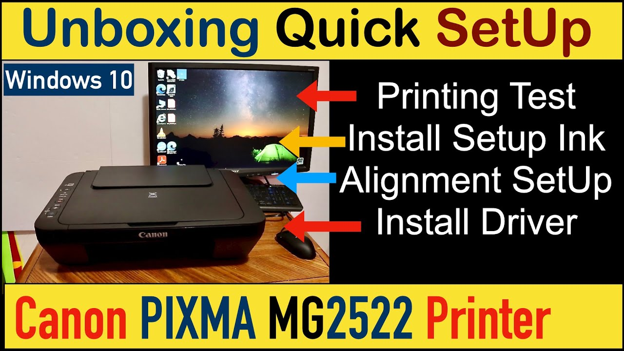 Canon PIXMA MG20 SetUp, Quick Unboxing, Install Setup Ink, Load Paper  Tray & Printing Review.