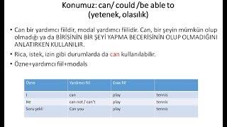 İngilizce de can/ could /be able to konusu (yetenek, olasılık)