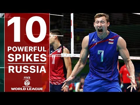 TOP 10 The Most Powerful Volleyball Spikes | Russia | FIVB Volleyball World League 2017