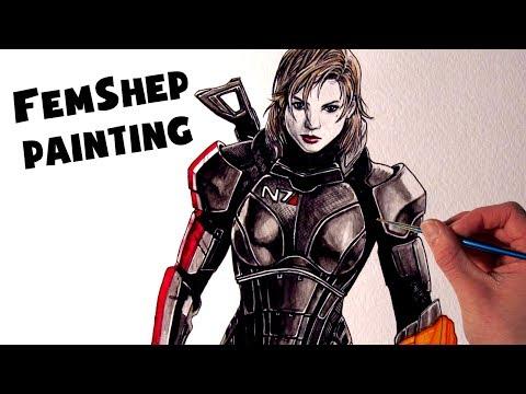 FemShep Painting – Mass Effect Fan Art Time Lapse