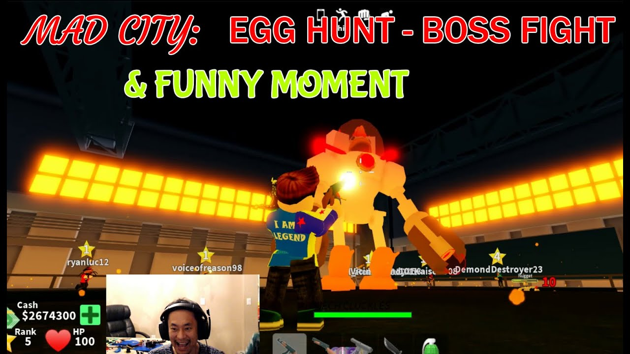 Roblox Mad City Egg Hunt Boss Fight And Funny Moment Ben Toys