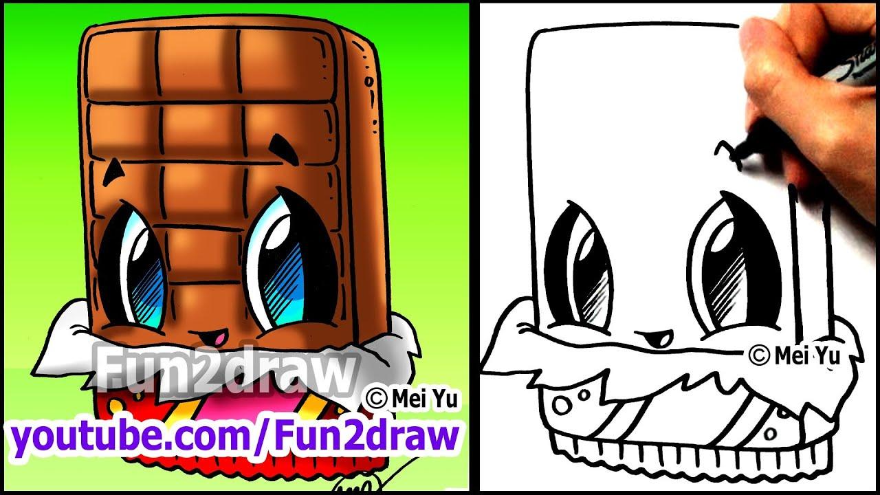 How To Draw Cute Cartoons  Chocolate Bar  Fun2draw Kawaii Food  Youtube