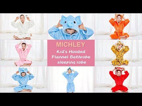 MICHLEY KIDS ANIMAL HOODED SOFT PLUSH FLANNEL BATHROBES SLEEPWEAR FOR GIRLS BOYS