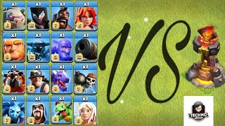 #coc  All Troops VS inferno tower Level 6/ 1vs1/ Who Will Win By Techno Aryan