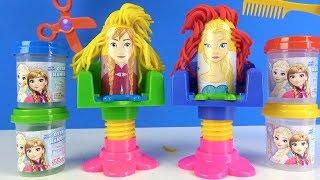 Frozen Elsa Oyun Hamuru seti Saç Dizayn Atölyesiyle Çılgın Saç Stili Elsa Play Doh Renkleri Öğren
