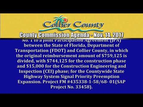 Collier County BCC Agenda for November 14, 2017
