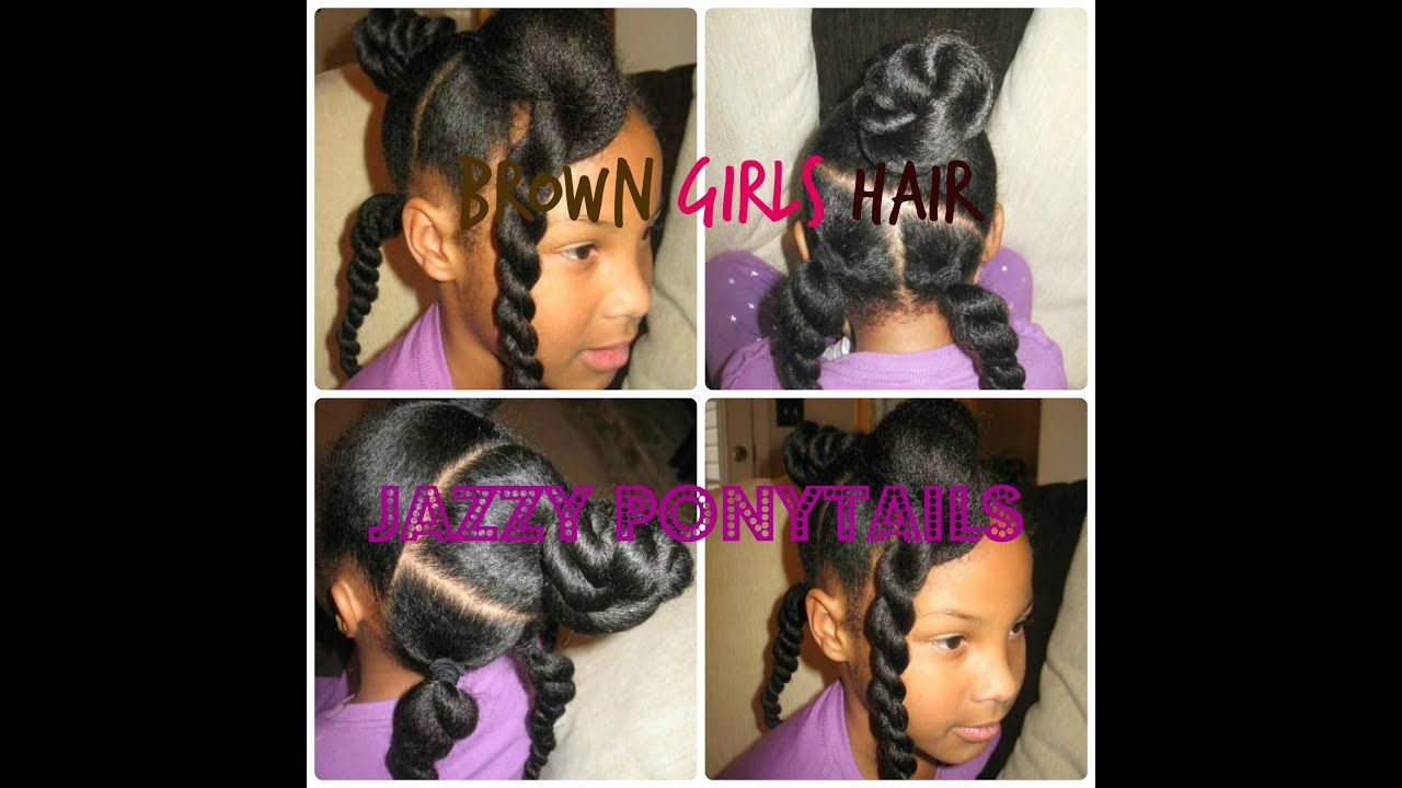 natural jazzy ponytail hairstyle for girls - youtube