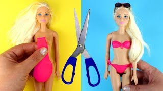 👙 DIY Barbie Bathing Suits with Balloons Making Easy No Sew Doll Swimsuits and Clothes for Barbies