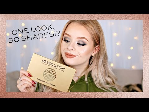 REVOLUTION   USING EVERY EYESHADOW IN THE PALETTE CHALLENGE - 30 SHADES!