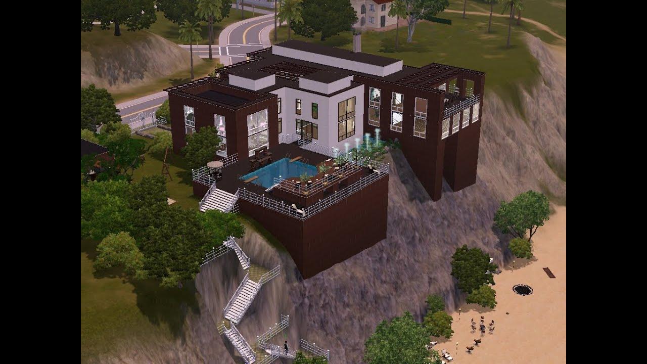 sims 3 haus bauen let 39 s build gro es haus mit treppe zum strand teil 1 youtube. Black Bedroom Furniture Sets. Home Design Ideas
