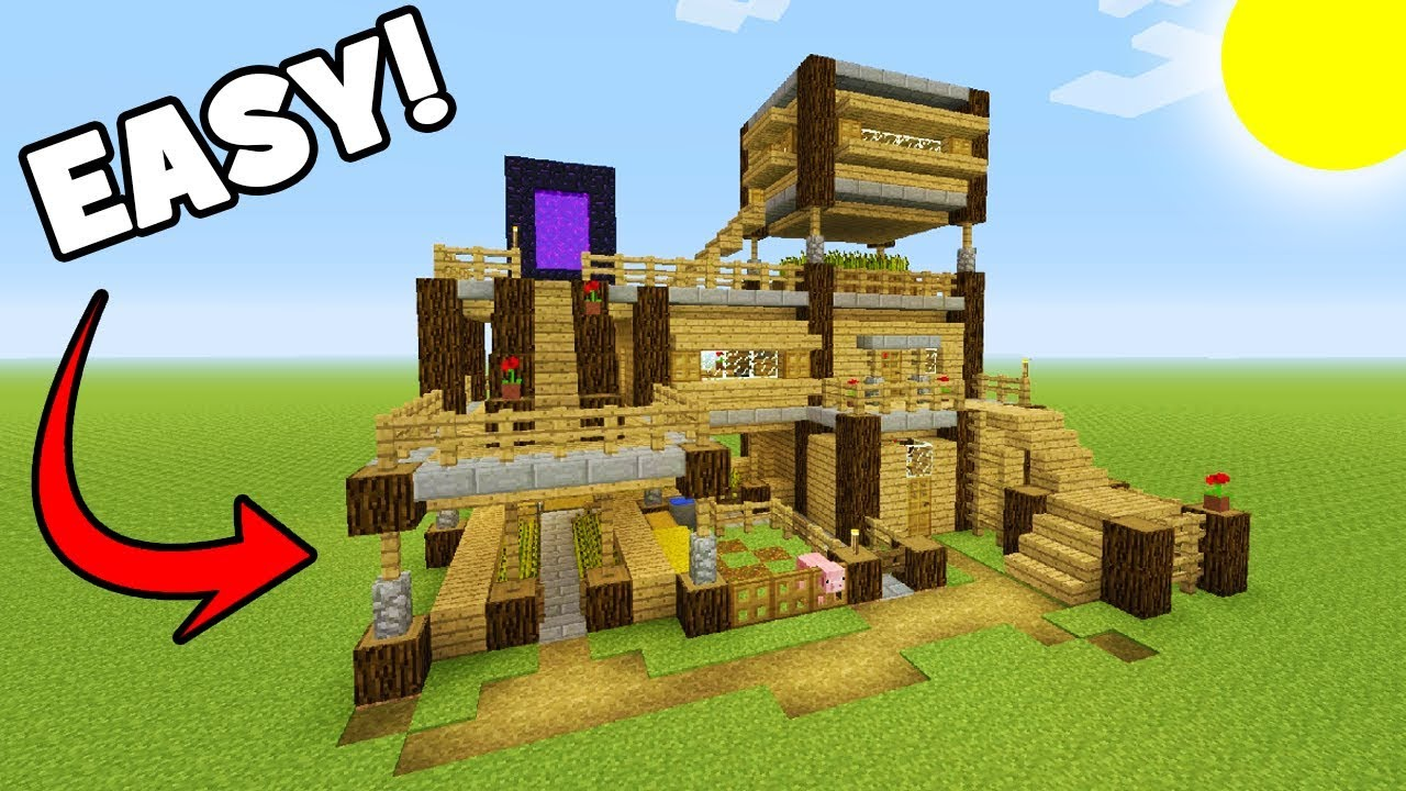 Minecraft tutorial how to make a big survival base with for What you need to build a house