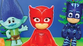 PJ MASKS Disney Gekko and Romeo Love Potion with Dreamworks Trolls Toys Video Parody
