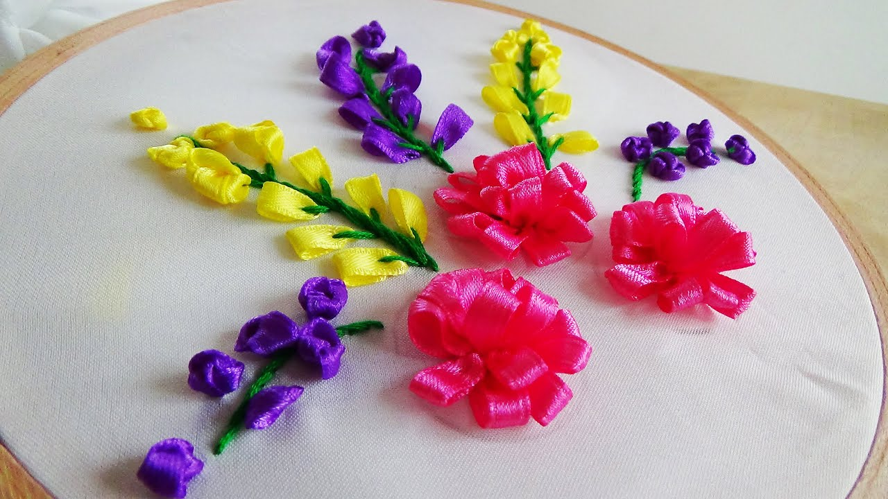 Hand embroidery ribbon flowers youtube