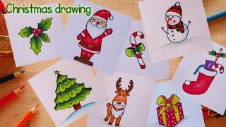 วาดรูปธีม วันคริสต์มาสการ์ตูน น่ารักๆง่ายๆ ⛄🎄🎉🎀 | How to draw simple Christmas/ Cute and Easy