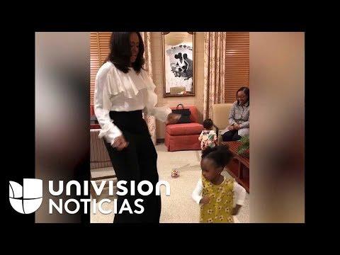 Video: Michelle Obama baila con la niña que quedó hipnotizada con su cuadro